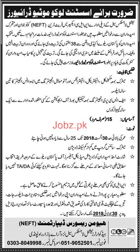 National Logistics Cell NLC  HR Department NEFT  JObs 2018
