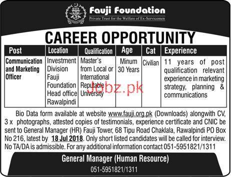 Fauji Foundation Communication & Marketing Officer Jobs