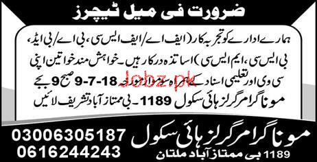 Mona Grammar Girls High School Multan Teachers Jobs