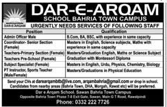 Dara e Arqam School Bahria Town Campus Jobs