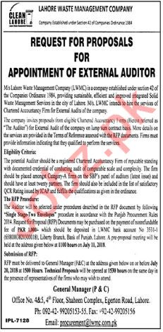Lahore Waste Management Company LWMC Jobs 2018 for Auditor