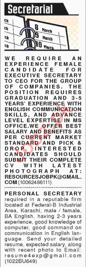 Personal Assistant & Office Secretary Jobs 2018