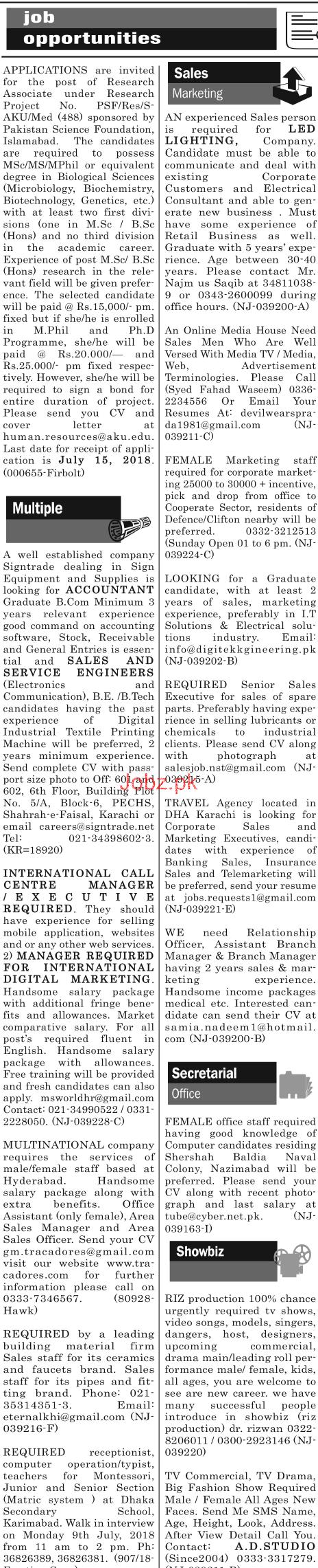 Research Associates, Female Marketing Staff Job Opportunity