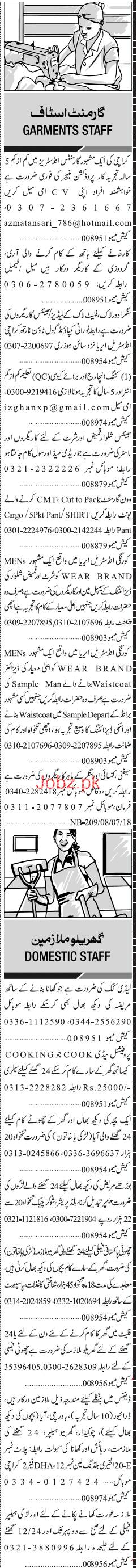 Production Incharge, Cutting Incharge Job Opportunity