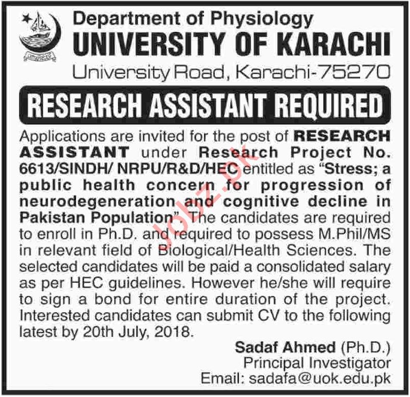 University of Karachi UOK Research Assistant Job 2018