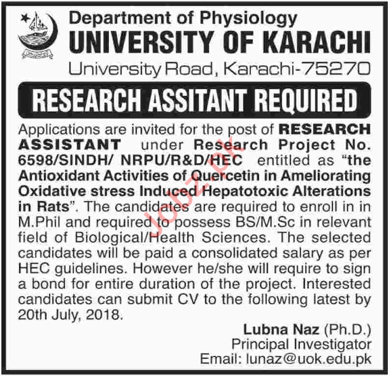Department of Physiology UOK Job 2018 For Research Assistant