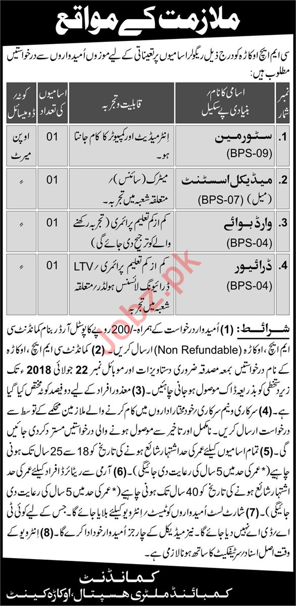 CMH Okara Jobs 2018 for Store Man & Medical Assistant