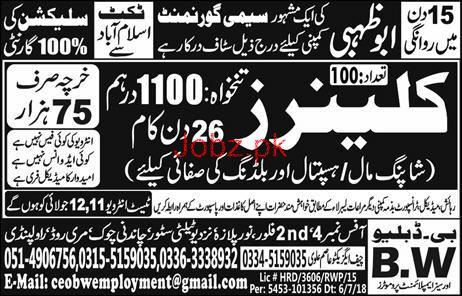 Cleaners Job in Semi Government Company 2019 Job