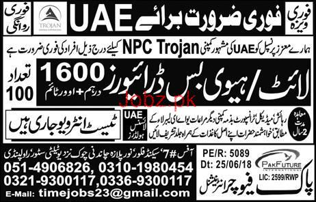 LTV Light  Drivers /HTV Bus Drivers Job in NPC Trojan