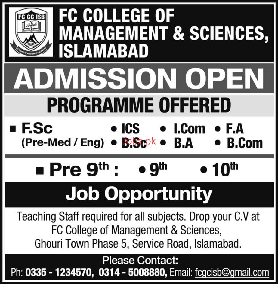 FC College of Management & Sciences Islamabad Jobs