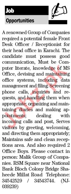 Front  Desk Officer Jobs Opportunity in Karachi