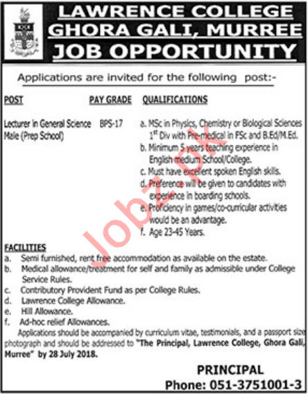 Lawrence College Ghora Gali Murree Jobs 2018 for Lecturers