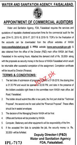 Water and Sanitation Agency WASA Faisalabad Jobs