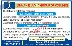 Jinnah Islamia Group of Colleges Jobs
