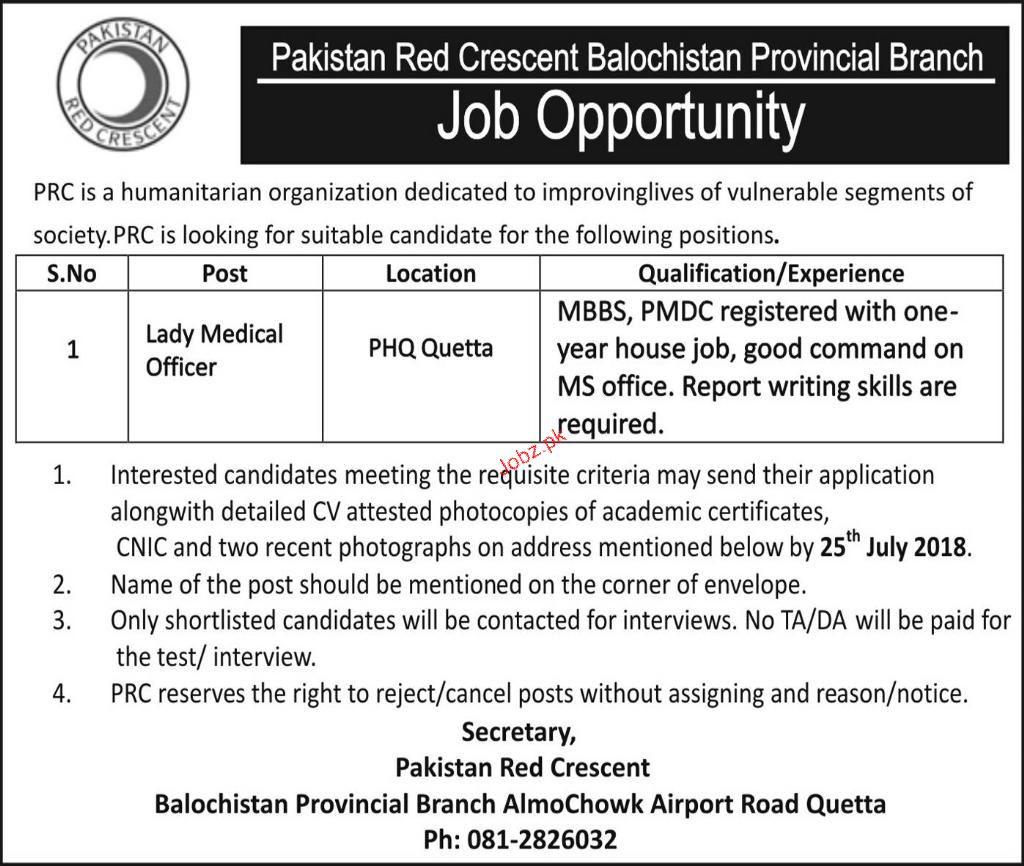 Pakistan Red Crescent Balochsitan Jobs