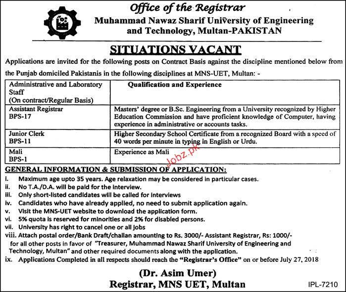Muhammad Nawaz Sharif University of Engineering & Tech Jobs