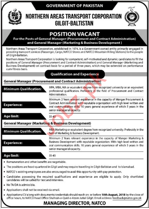 Northern Areas Transport Corporation Gilgit Baltistan Jobs