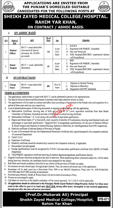 Sheikh Zayed Medical College Rahim Yar Khan Jobs