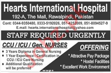 Hearts International Hospital CCU / ICU & Gen. Nurses Jobs