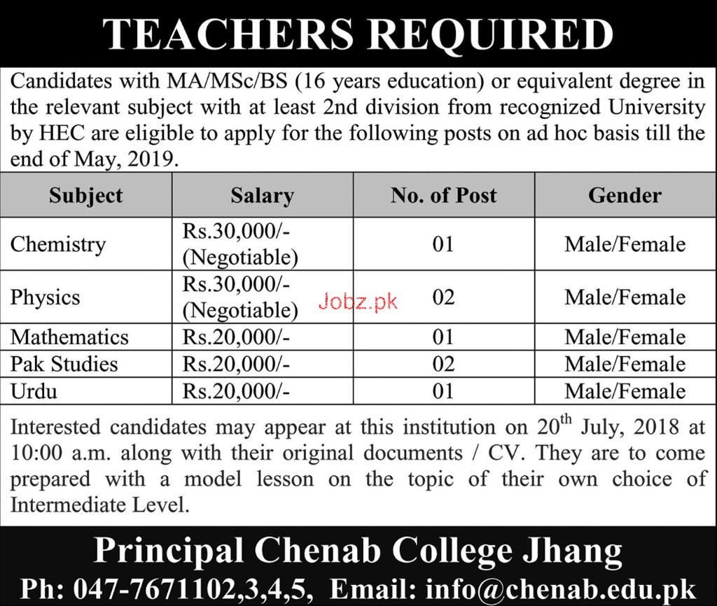 Male / Female Teachers Job in Chenab College Jhang