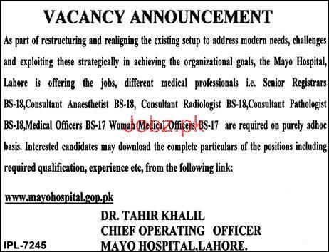 Mayo Hospital Lahore Medical Jobs