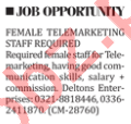 Female Telemarketing Jobs 2018 in Lahore
