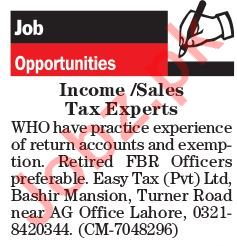 Sales Tax Expert Jobs 2018 in Lahore