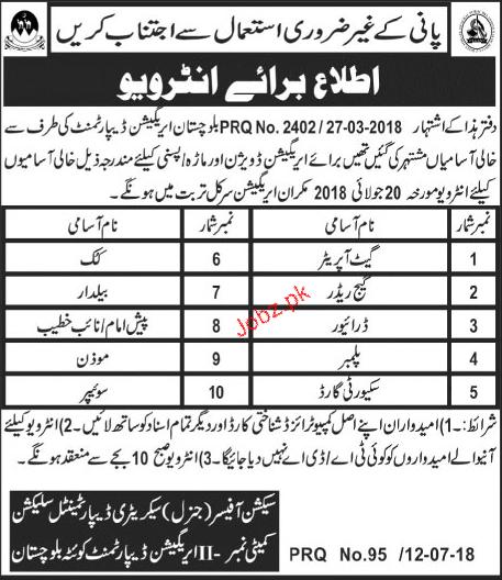 Irrigation Department  Balochistan Quetta Jobs