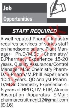 Plant Manager, QA Manager & QC Analyst Jobs 2018