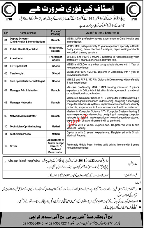 PPHI Sindh karachi  Deputy Director Child Health Jobs