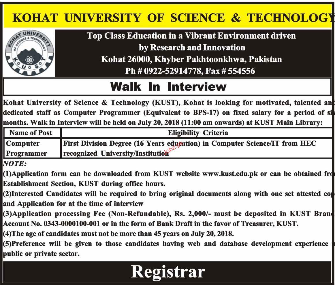 Kohat University of Science & Technology KUST Jobs 2019 Job