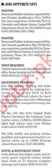 Office Staff & Hotel Staff Jobs 2018
