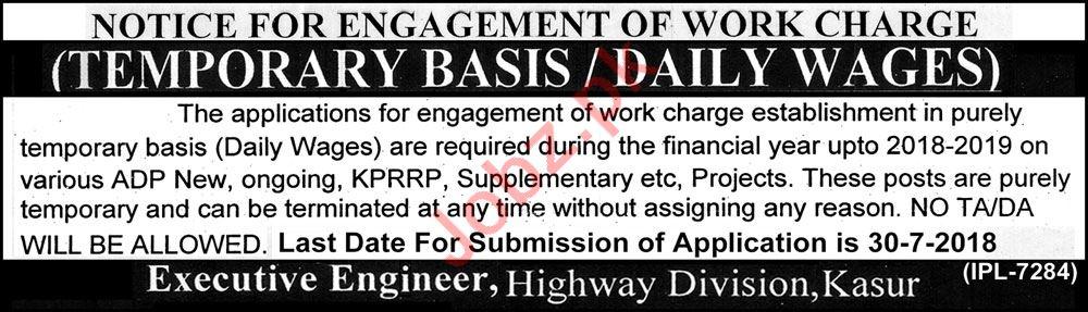 Executive Engineer Highway Division Kasur Jobs 2018