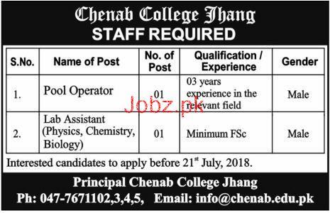 Chenab College Jhang Pool Operators Jobs