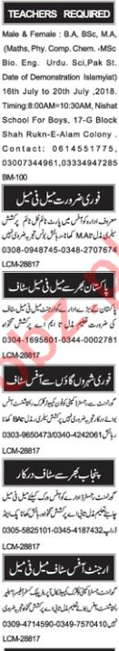 Male & Female Teacher Jobs 2018 in Multan