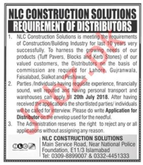 Distributors Jobs in NLC Construction Solutions Islamabad