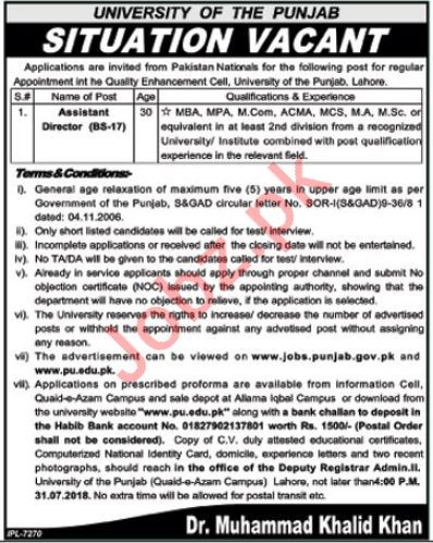 University of the Punjab PU Lahore Jobs 2018 for Director