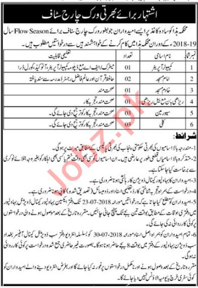 Irrigation Department Canal Division Bahawalpur Jobs 2018