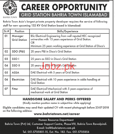 Bahria Town Islamabad Manager Grid Station Jobs