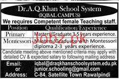 Dr A Q Khan School System Iqbal Campus Jobs