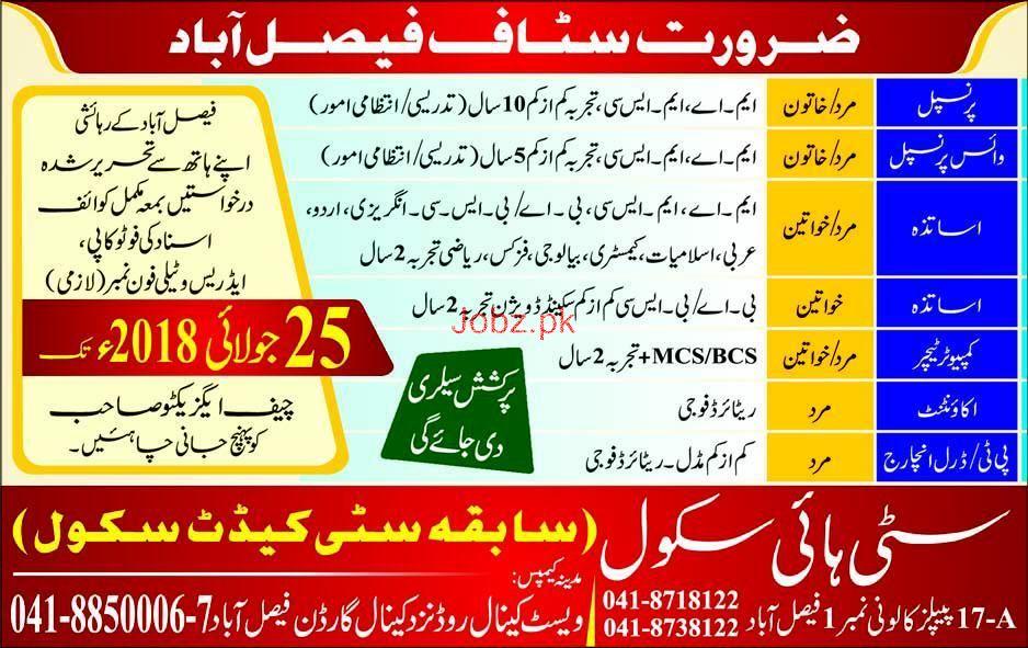 City High School Faisalabad Teachers Job
