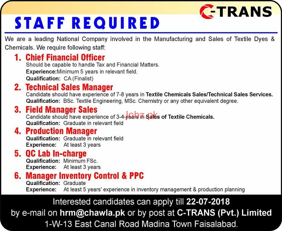 C-Trans Private Limited  Chief Financial Officers Jobs