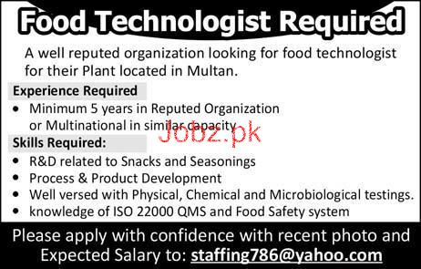 Food Technologists Job Opportunity