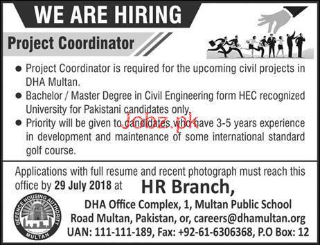 Defence Housing Authority DHA Multan Project CoordinatorJobs