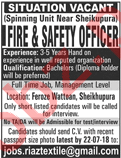Fire & Safety Officer Jobs 2018 in Sheikhupura
