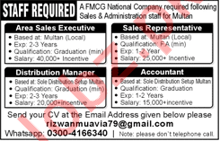 Area Sales Executive & Accountant Jobs 2018