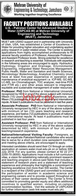 Mehran University of Engineering & Technology Teaching Jobs