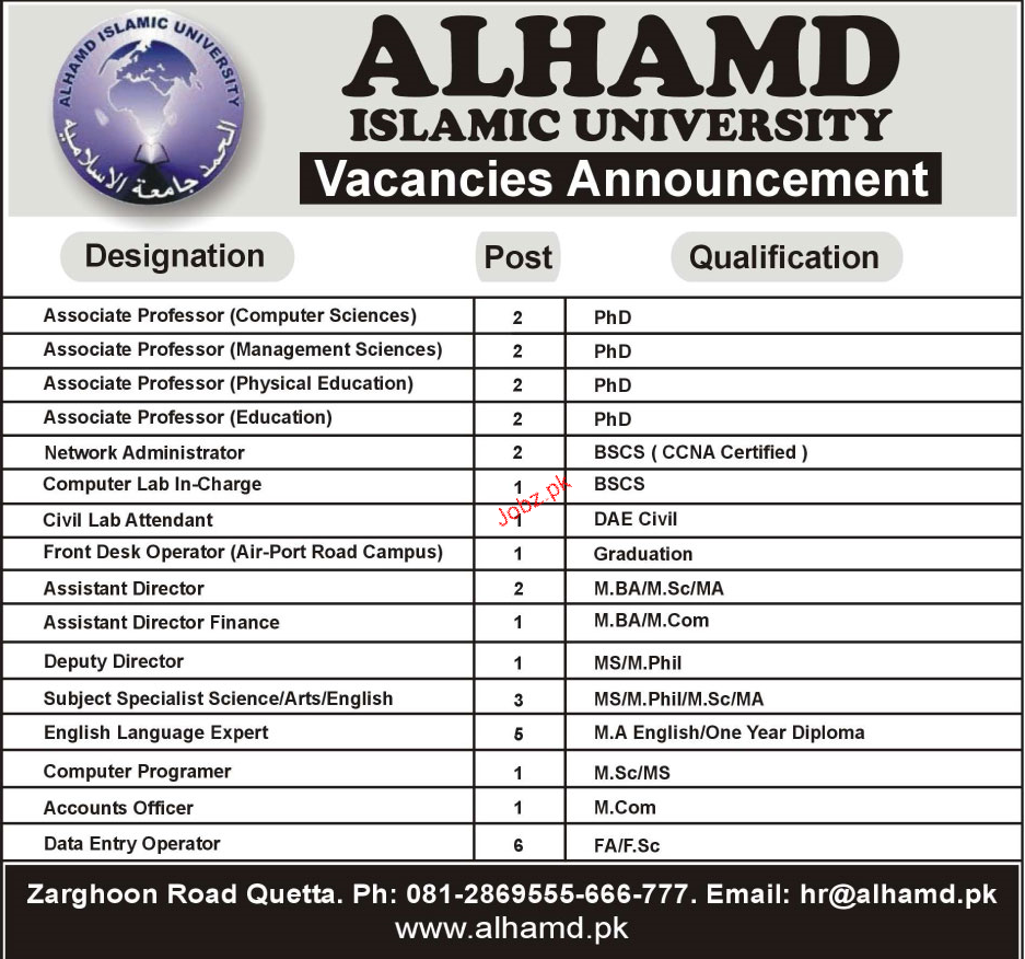 Alhamd Islamic University Teaching Jobs