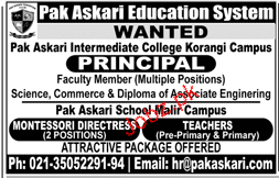 Pak Askari Education System Principal Jobs