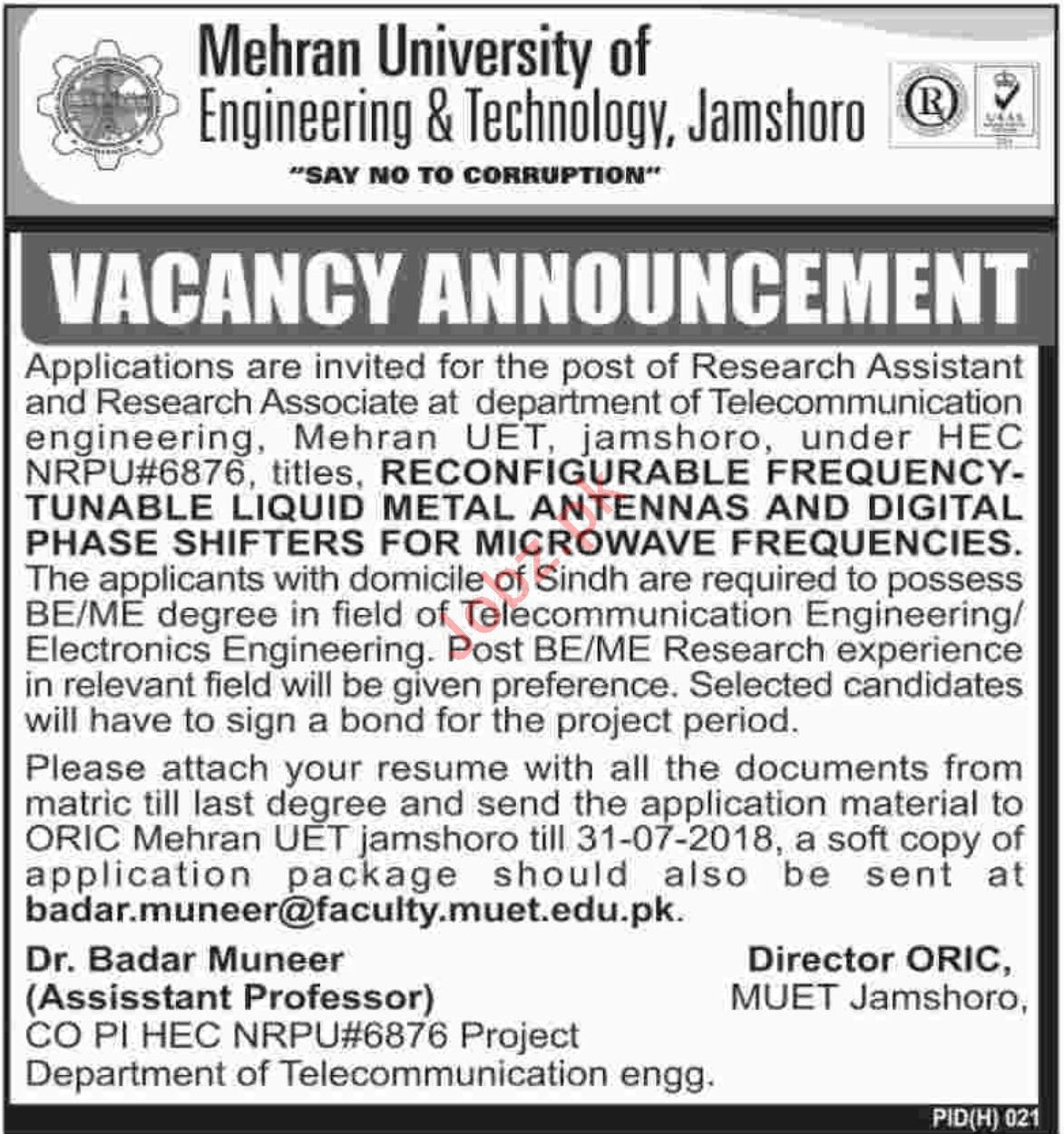 MUET Jamshoro Jobs 2018 for Research Assistant